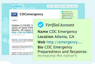 Screenshot of an example of a Twitter Verified Account