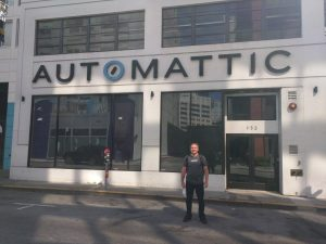 Russell Aaron in front of the Automattic headquarters, in San Francisco, California
